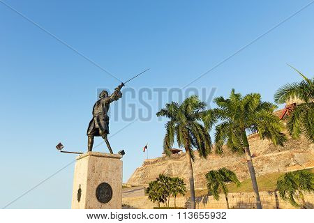 Statue of General Blas at the plaza adjacent to the fortress.
