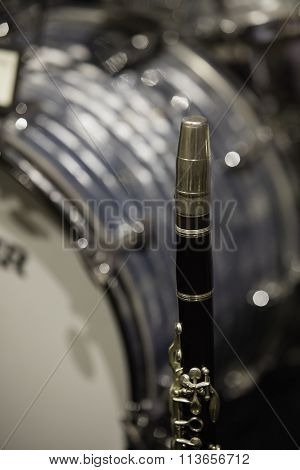 Vintage Wind Instrument And Drums