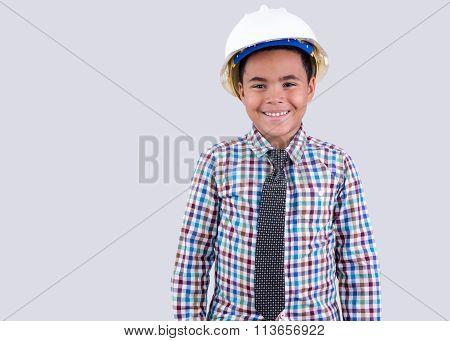 Cute Little Boy In Hard Hat And Tie