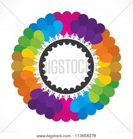 colorful balloon bunch round birthday sticker design