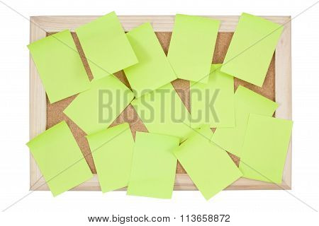 Post It Notes On Corkboard