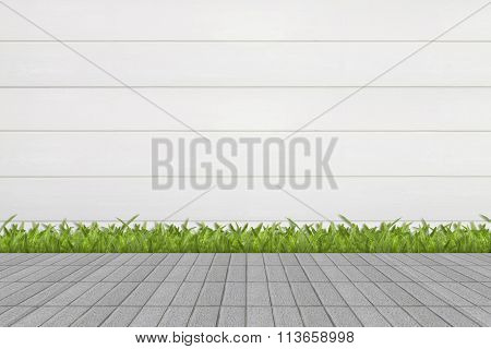 some Grass and mortar wall background .