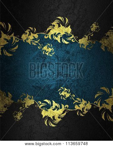 Black Background With Gold Pattern And Blue Nameplate. Element For Design. Template For Design. Copy