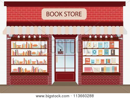 Bookstore With Bookshelves.