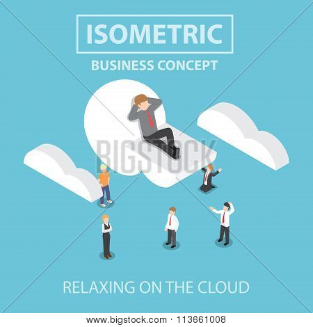 Isometric Businessman Is Relaxing While Lying On A Cloud