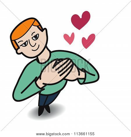 Man Falling In Love By Express Happy Pose