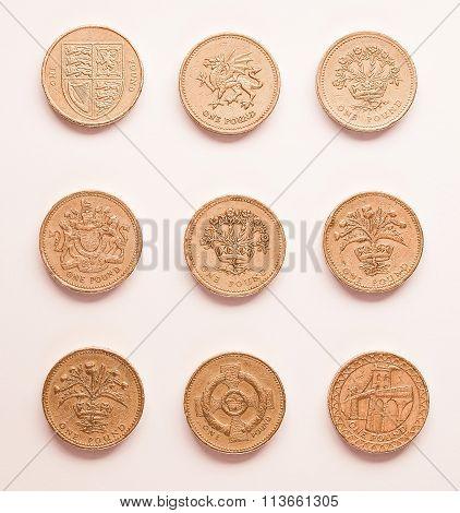 One Pound Coins Vintage