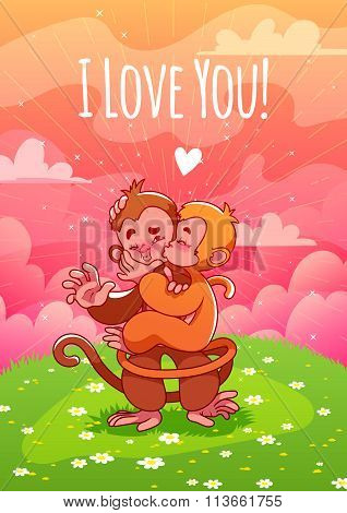 Two Cute Lovers Monkeys Kissing On The Green Lawn.