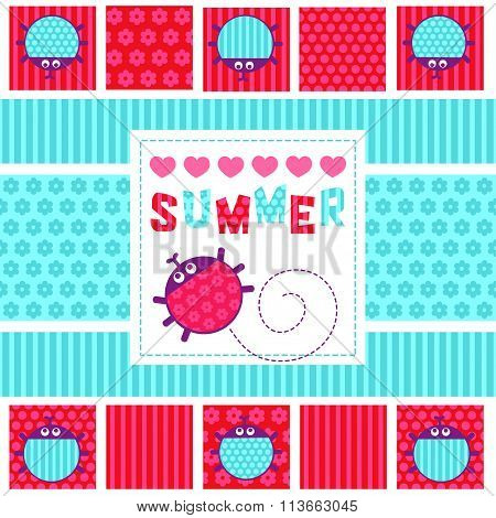 Summer card creeping ladybug vector illustration