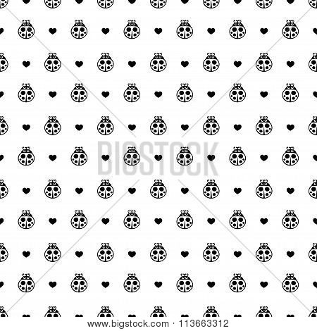 Ladybirds and hearts seamless vector pattern