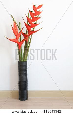 white empty interior with Vase Bird of Paradise flower