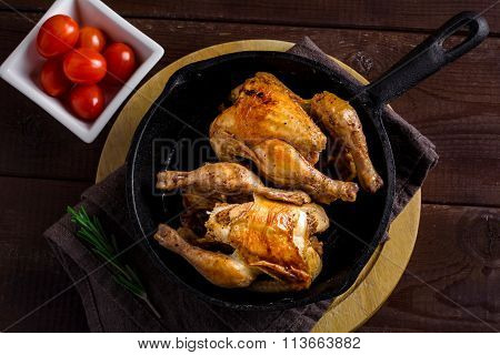 Roasted whole chicken on skillet