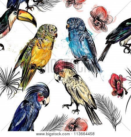 Vector Seamless Illustration On A Tropical Theme Palm Leafs And Birds