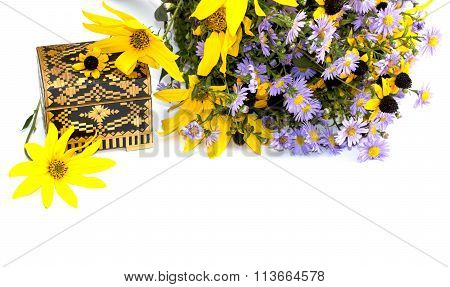 Bouquet Of Wild Flowers And Casket, Isolate