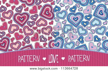 Two Love Patterns Pink And Blue