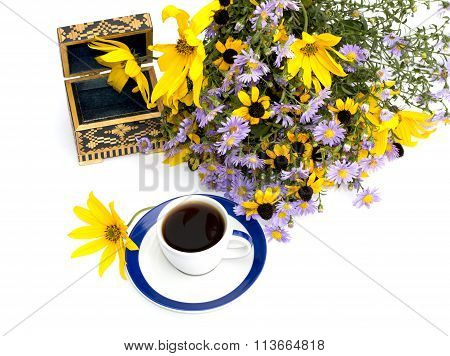Bouquet Of Wild Flowers, Coffee And Casket, Top View