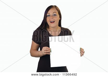 Beautiful Brunette Holds A White Card
