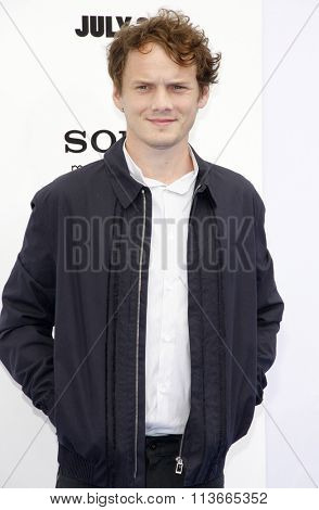 WESTWOOD, CALIFORNIA - July 28, 2013. Anton Yelchin at the Los Angeles premiere of 'Smurfs' held at the Regency Village Theater in Westwood, Los Angeles.