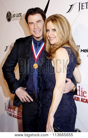 John Travolta and Kelly Preston at the 11th Annual Living Legends Of Aviation Awards held at the Beverly Hilton Hotel in Los Angeles, California, United States on January 17, 2014.