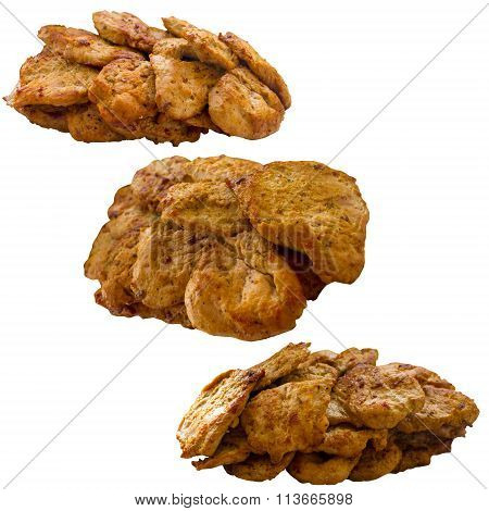 Fried Meat Isolated On A White Background.
