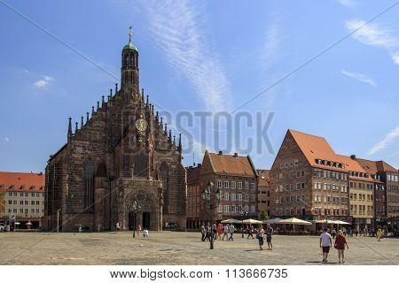 NUREMBERG, GERMANY - AUGUST 23, 2015: The Frauenkirche (