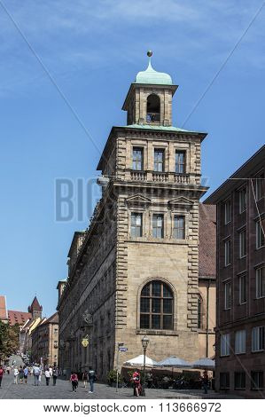 NUREMBERG, GERMANY - AUGUST 23, 2015: The town hall (Altes Rathaus) is one of the few buildings in Nuremberg which are influenced by the Renaissance it was destroyed in second world war rebuilt in 1956 and now serves as building for Nuremberg's administra
