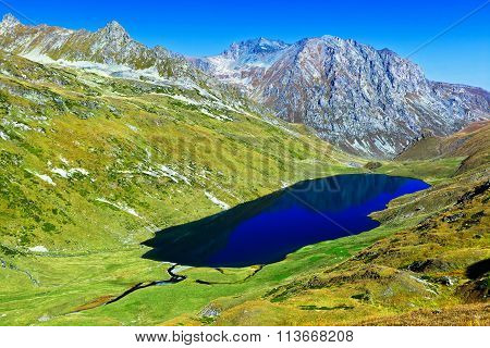 Big Lake In The Mountains Of Caucasus