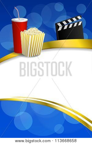 Background abstract blue gold red drink popcorn movie clapper board gold frame ribbon vertical