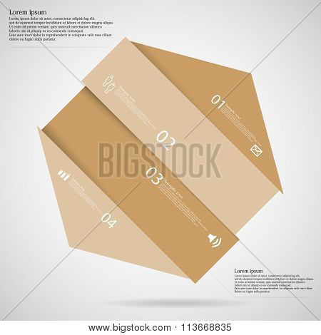 Light Illustration Infographic With Hexagon Askew Divided To Four Parts