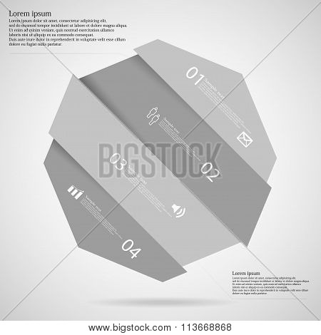 Light Illustration Infographic With Octagon Askew Divided To Four Parts