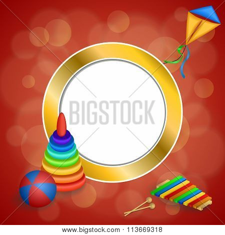 Abstract background toys pyramid ball kite blue green red yellow gold circle frame illustration
