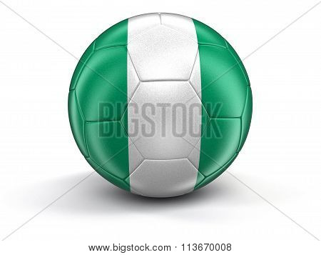 Soccer football with Nigerian flag. Image with clipping path
