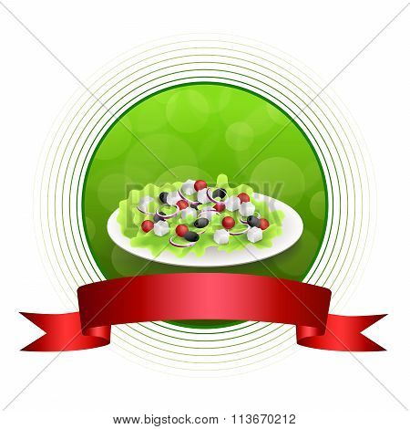 Abstract background food Greek salad tomato feta cheese green black olives onion red green yellow
