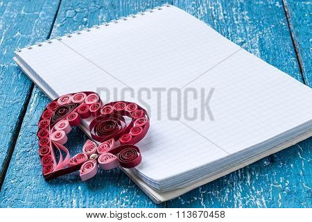 Notepad And Heart In Quilling Techniques