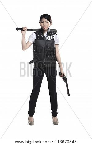 Police Woman Hold Revolver Gun And Baseball Bat