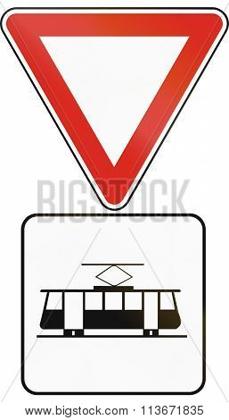 Road Sign Used In Slovakia - Give Way To Trams