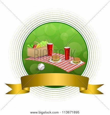 Background abstract green picnic basket hamburger drink vegetables baseball ball circle gold ribbon