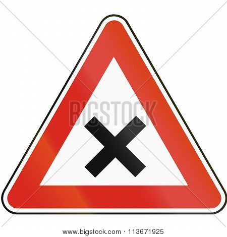 Road Sign Used In Slovakia - Intersection