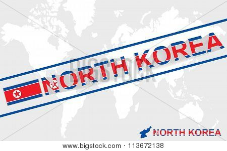 North Korea Map Flag And Text Illustration
