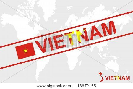 Vietnam Map Flag And Text Illustration