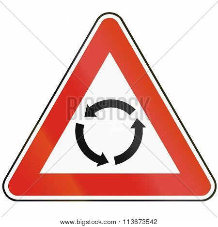 Road Sign Used In Slovakia - Intersection With Roundabout