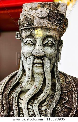 Stone Statue In Wat Pho Temple, Bangkok