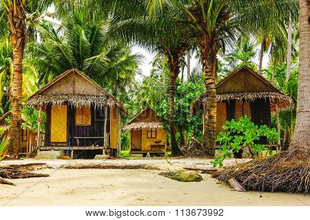 Wooden Bungalows In Tropic Forest