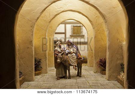 Bethlehem Departure. Christmas Nativity Scene