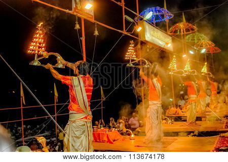 Evening Aarti Prayers on Ghats of Varanasi