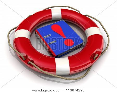 Blue folder with the exclamation point in the lifebuoy