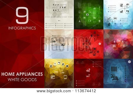 household appliances infographic with unfocused background