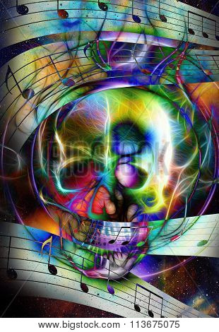 Skull and note. Skull  fractal effect and fire effect. Color space background, computer collage.