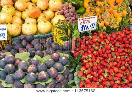 Exotic fruits for sale at a market