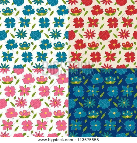 Four Colorful Flowers Seamless Pattern